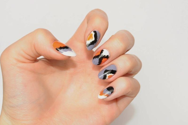 ikat print nail art by Carolina
