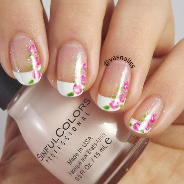 Frenchies With Flowers nail art by  Vanesa
