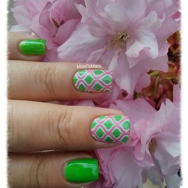 green jelly Mani with nail wraps nail art by Moni'sMani