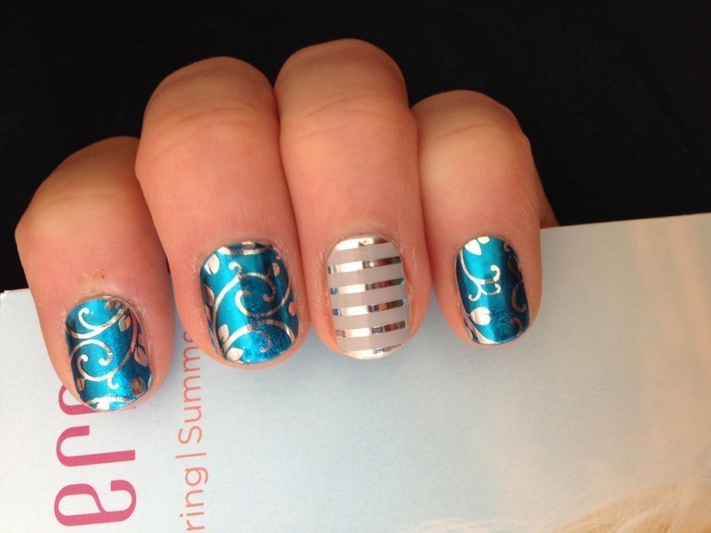 Paradise Blue Floral W Silver Accents Nail Art By Karenkay02