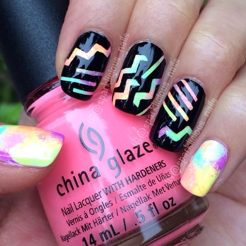 """Scratch Art Nails nail art by Amanda """"Sparklicious Nails"""""""