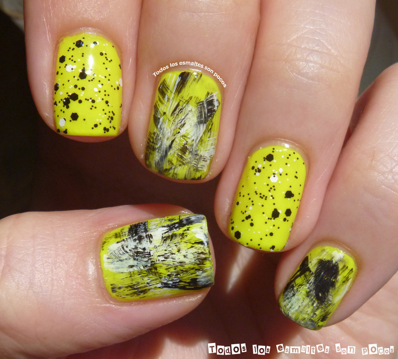 Neon yellow with black and white nail art by Maria - Nailpolis ...