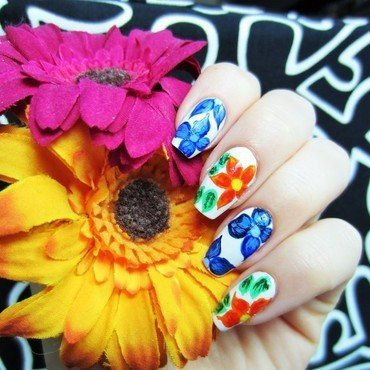 Mother`s day flowers nail art by Jane