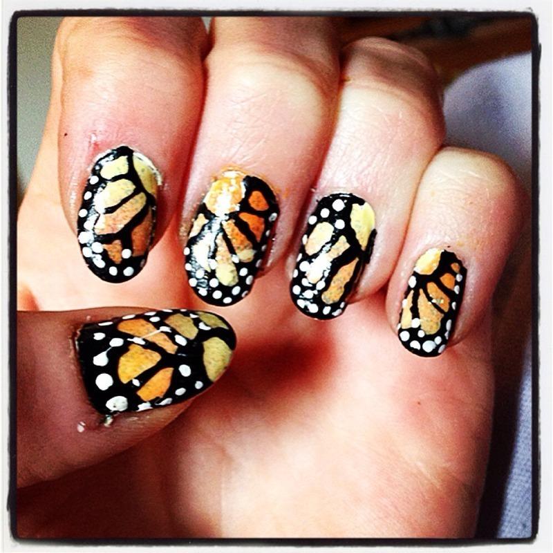 Butterflies.  nail art by Kathleen