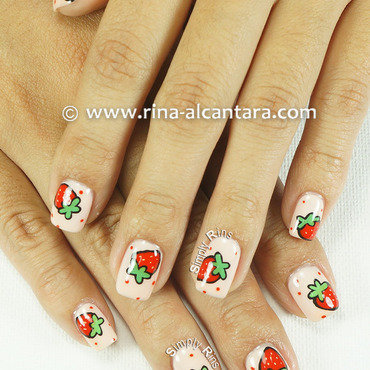 Strawberry and More Strawberries nail art by Rina Alcantara