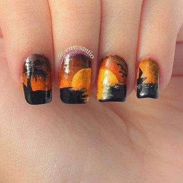 sunset nail art by Jenny sanyoto