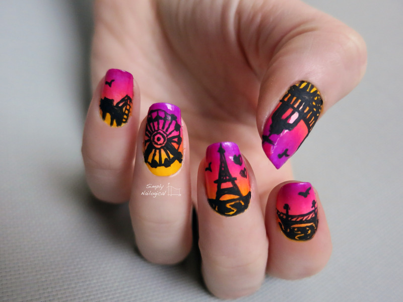 Coucher de soleil - une soirée à Paris nail art by simplynailogical