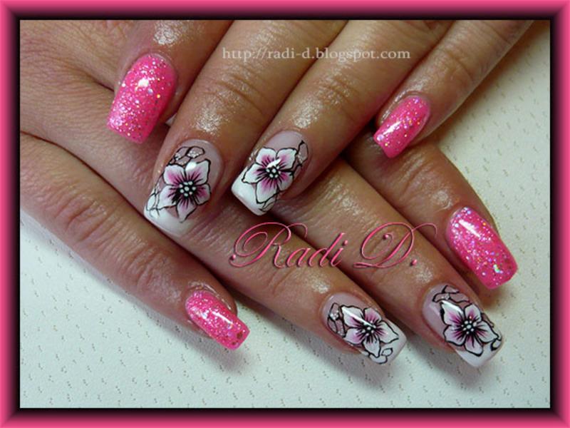Pink Gel Polish Flowers Nail