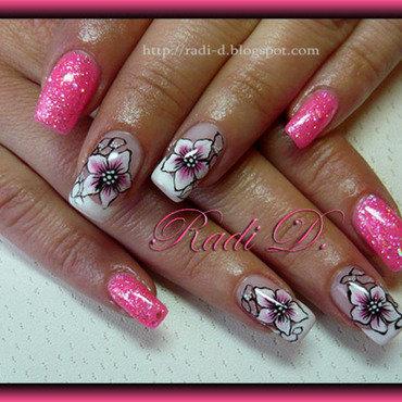 Pink gel polish & Flowers nail art by Radi Dimitrova
