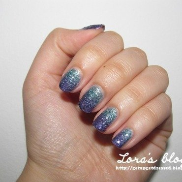Purple turquise ombre nail art by Lora