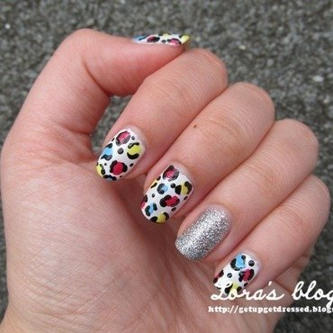 Colorful Leopard nail art by Lora