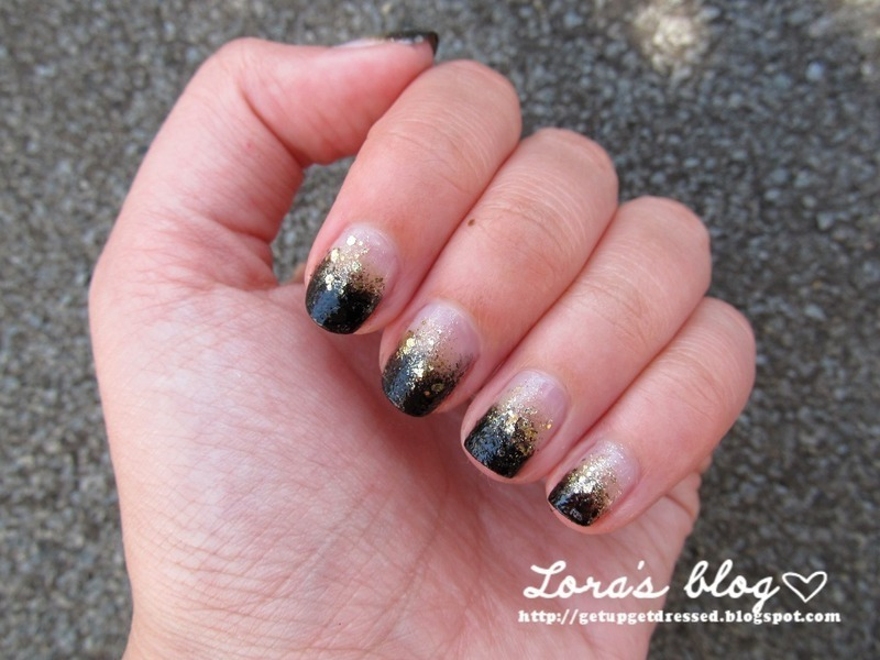 Black gold glitter gradient nail art by Lora - Nailpolis: Museum of ...