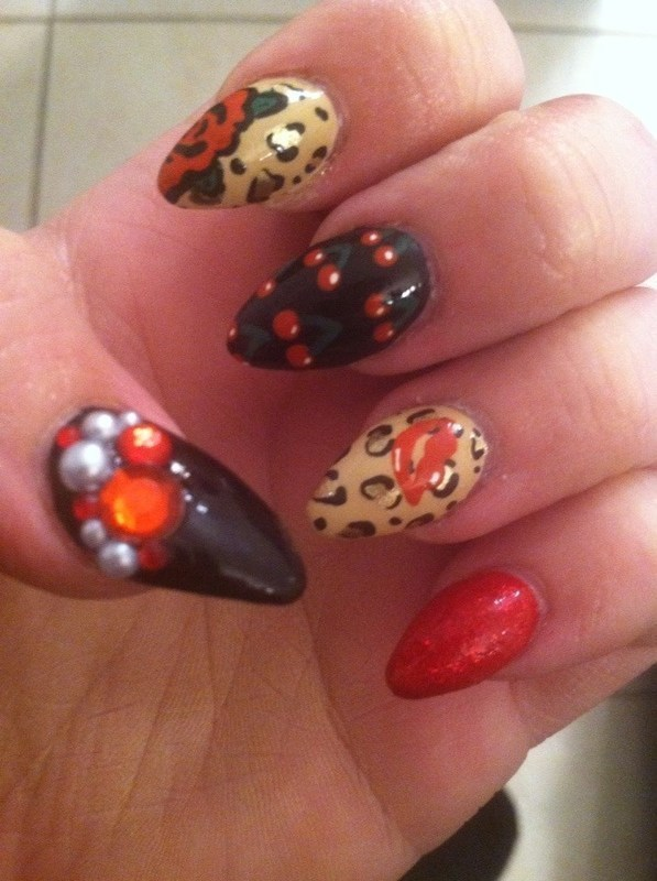 Girly Glam nail art by Beth Marie
