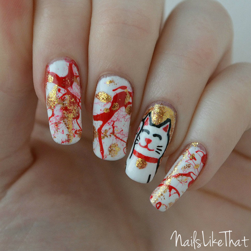 Maneki Neko nails nail art by Nicole M