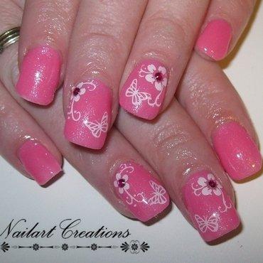 Pink gems nail art by Nailart Creations