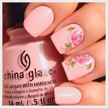 Pink Roses nail art by Nails_In_Style