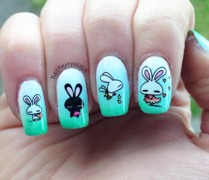 Nail Decals - Bunnies nail art by NailThatDesign