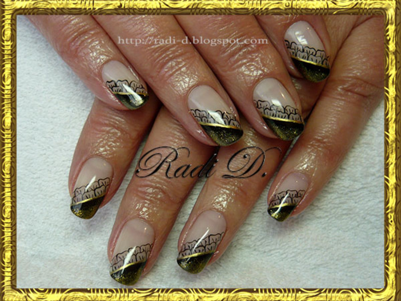 Black & Gold gel polish nail art by Radi Dimitrova
