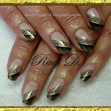 Black & Gold gel polish nail art by Radi Dimitrova