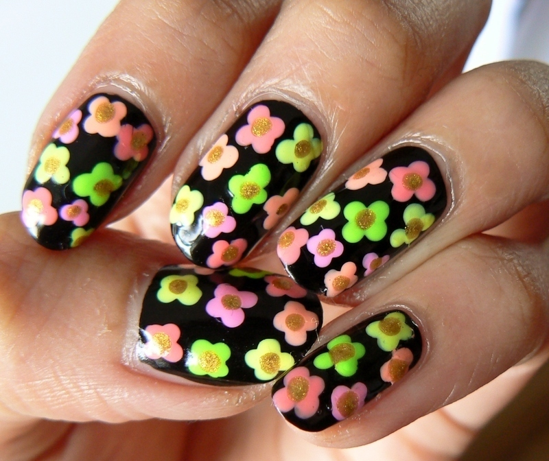 Psychedelic Florals! nail art by Aysha Baig