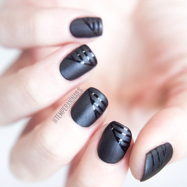 Striping tape, matte and glossy nail art by Temperani Nails
