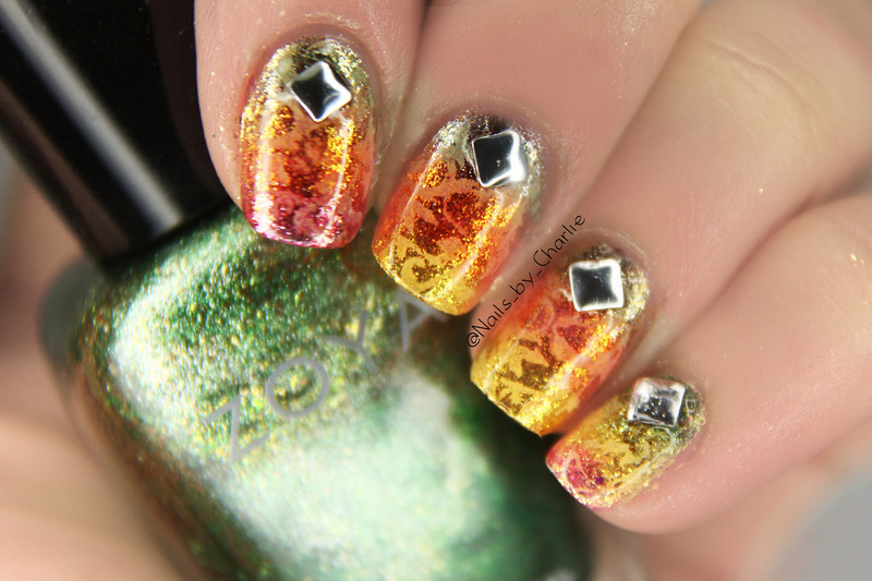 Earth and fire nail art by Charlie Bourdeau