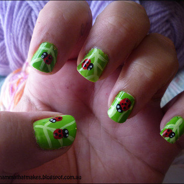 Ladybugs nail art by Myshelle