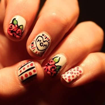 flowers bouquet fo my Mom nail art by Constanza  JM