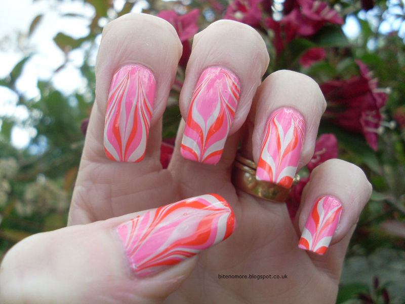 Water marble stripes nail art by Tracey - Bite no more