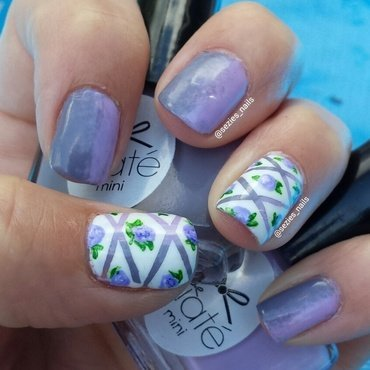 gradient striped flowers nail art by Sarah Bellwood