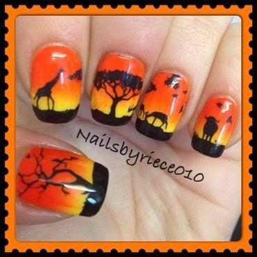 African Desert scene nail art by Riece