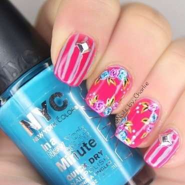 Pink blues nail art by Charlie Bourdeau
