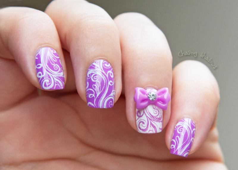 Cute bow nail art by Chasing Shadows