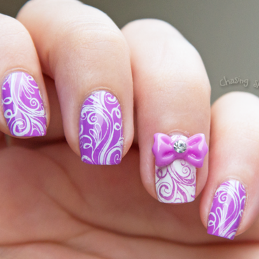 Cute bow nail art by Chasing Shadows