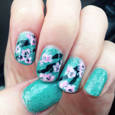 Cherry Blossoms nail art by Anya Qiu