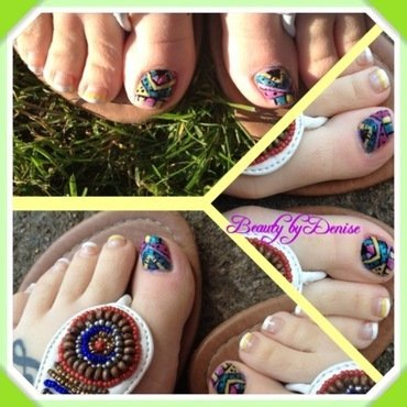 Aztec Toes nail art by Denise's Beauty Spot