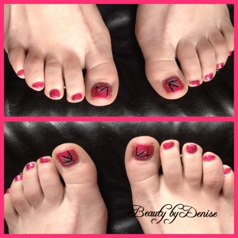 Pink Toes nail art by Denise's Beauty Spot
