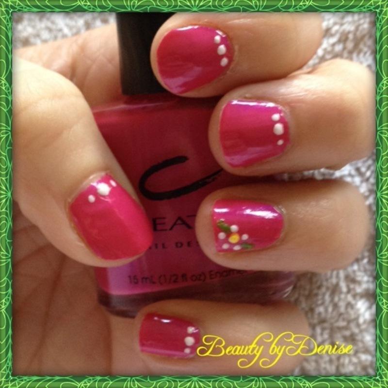 Flowers in Pink nail art by Denise's Beauty Spot