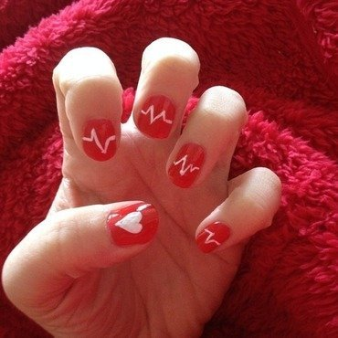 Heartbeat nail art by Denise's Beauty Spot