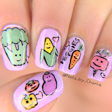 I Heart Veggies nail art by Charlie Bourdeau