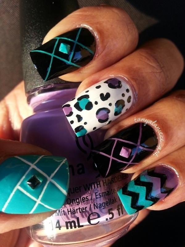 Neon Skittle Manicure nail art by Tonya