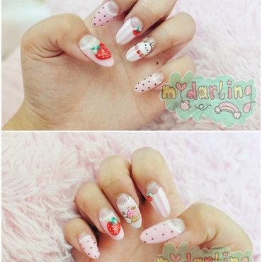 Strawberry Molang nails nail art by Carise Iris
