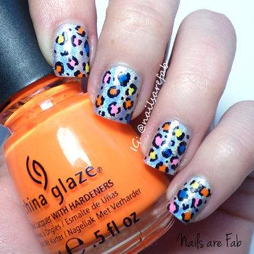 Neon Cheetah nail art by Leah Michalewicz
