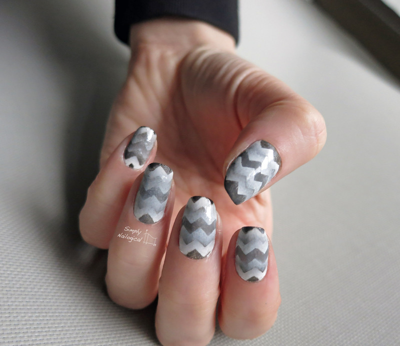 Greyscale chevron returning reciprocal gradient nail art by simplynailogical