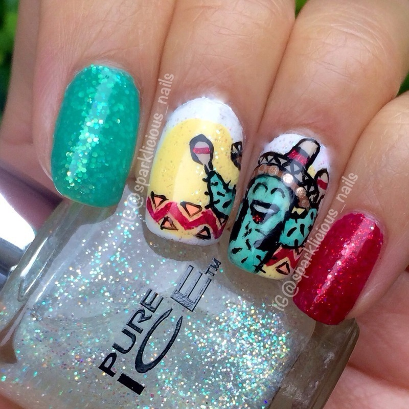 """Cinco de Mayo Happy Cactus nail art by Amanda """"Sparklicious Nails"""""""