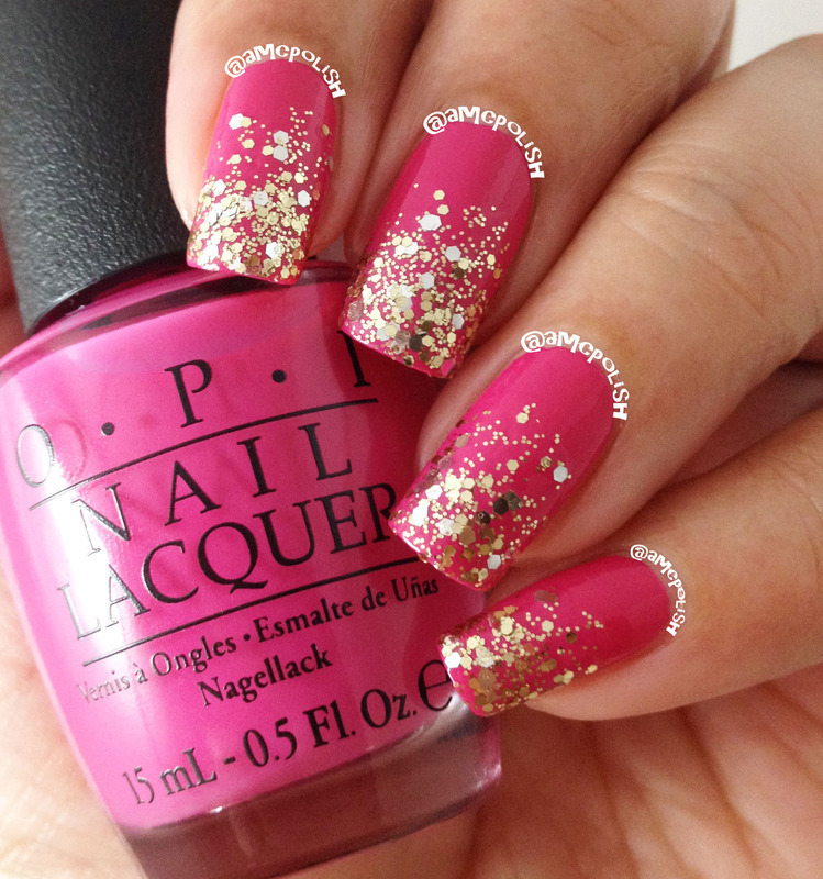 Glitter Gradient nail art by Amber Connor