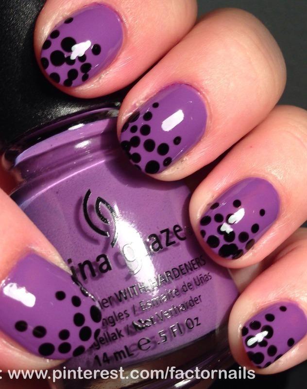 Heavy dotting nail art by Factornails