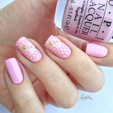 Pink Roses nail art by lackfein