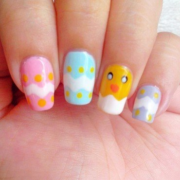 Easter Chick nail art by Judy Ann Chio