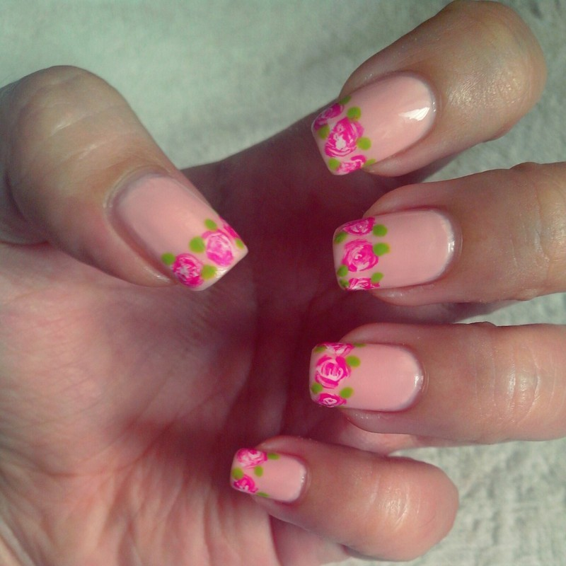 Floral French Tip nail art by Judy Ann Chio